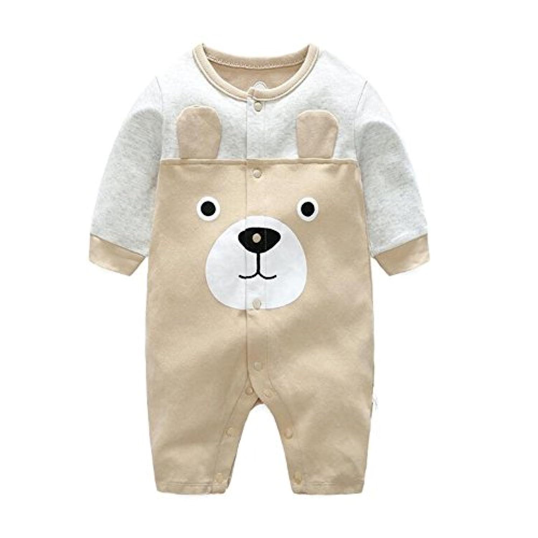 エルフ ベビー(Fairy Baby)新生児服 カバーオールロンパース 前開き 長袖 可愛いクマ柄 6M