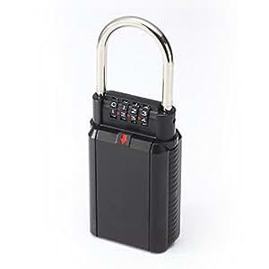サンワダイレクト 鍵収納BOX 南京錠 ダイヤル式 4桁 【鍵の保管・受け渡しに】 大型サイズ 200-SL027BK