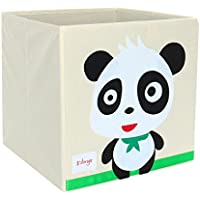 Piccocasa折りたたみ式おもちゃストレージビンSquare Cartoon Animalキャンバスストレージボックス環境に優しいファブリックストレージキューブオーガナイザーの寝室、プレイルーム、NO蓋Panda 13