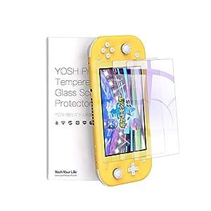 Nintendo Switch Lite ガラスフィルム 二枚入り 飛散防止 保護フィルム 任天堂 スイッチ フィルム 強化保護ガラス 日本旭硝子素材 ブルーライトカット95% 硬度9H ガラス指紋防止 気泡ゼロ 自動吸着 高透過率メーカー正規品 60日間交換対応 YOSH