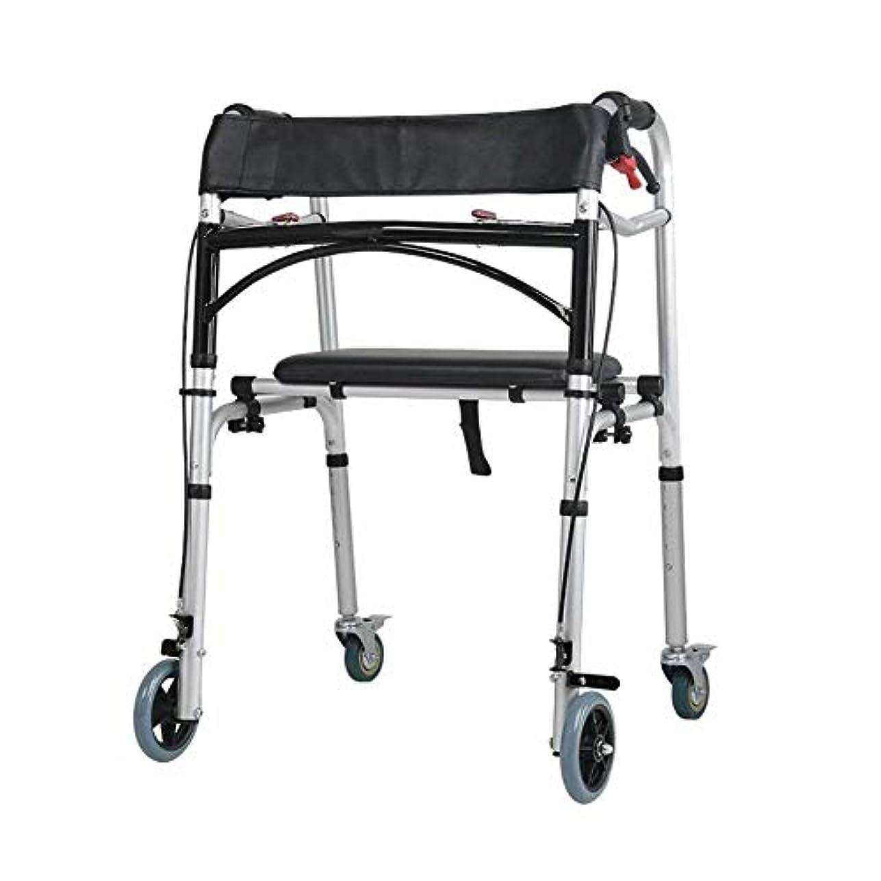 宗教的なゆりかご十代の若者たちキャリングハンドルとフリップシート、多機能高齢者歩行杖4脚アンチスリップチェアスツール付き2輪ウォーキングフレーム (Color : 黒)