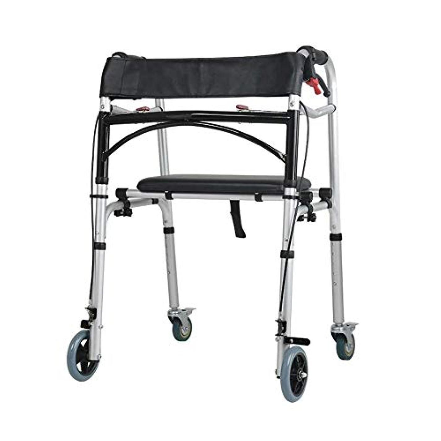血ショルダー子猫キャリングハンドルとフリップシート、多機能高齢者歩行杖4脚アンチスリップチェアスツール付き2輪ウォーキングフレーム (Color : 黒)