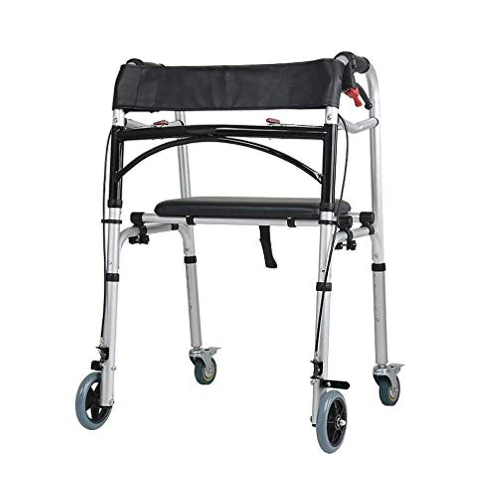 モート強制的ヒューバートハドソンキャリングハンドルとフリップシート、多機能高齢者歩行杖4脚アンチスリップチェアスツール付き2輪ウォーキングフレーム (Color : 黒)