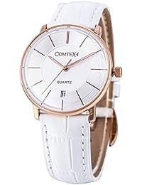 Comtex 腕時計 レディース 球面ガラス 日本製クオーツ ホワイト レザー アナログ ウオッチ 時計 ピンクゴールド