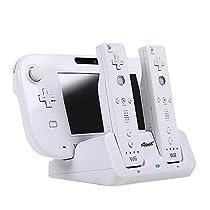ieGeek Nintendo Wii U Game Pad(ゲームパッド) &リモコン 置くだけ充電ベース 充電ポート 充電 収納 スタンド ホワイト W003