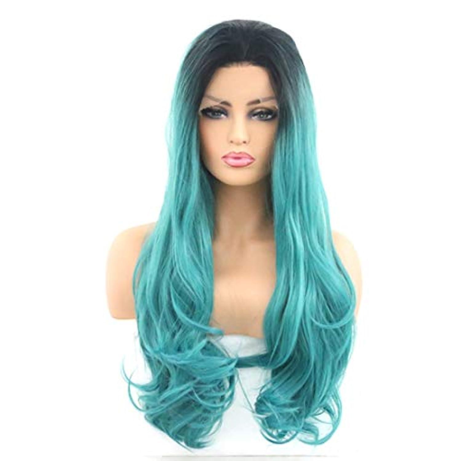 スリップシューズショート明るいKerwinner 女性のためのフロントレースかつら、長い巻き毛、大きな波、巻き毛、化学繊維かつら (Size : 26inch)