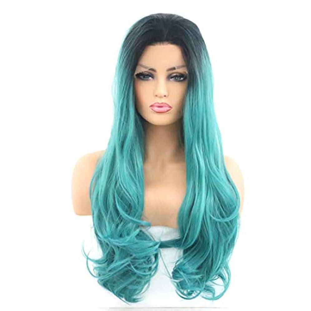 モトリーアナロジー免除するKerwinner 女性のためのフロントレースかつら、長い巻き毛、大きな波、巻き毛、化学繊維かつら (Size : 26inch)