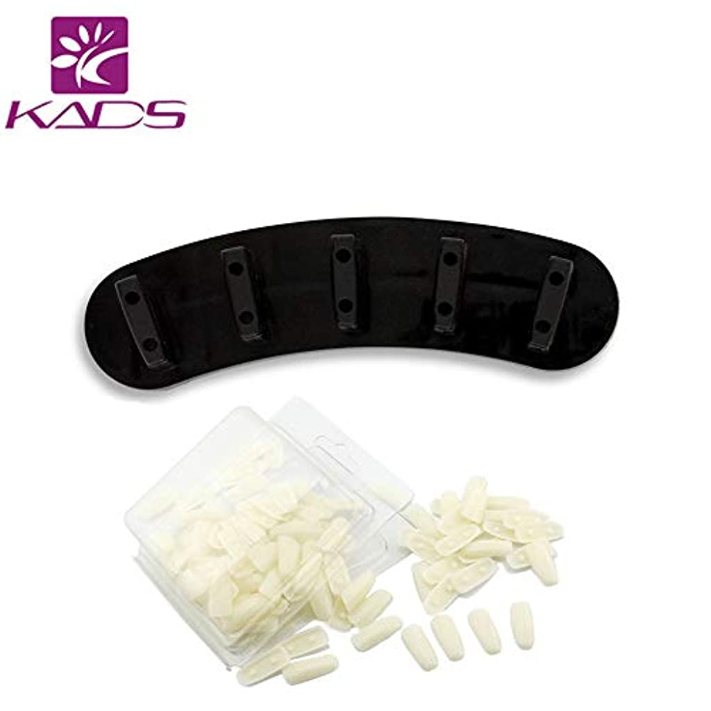 ブレイズ支払うつかの間KADS プラスチック製 ネイルアート マニキュア ディスプレイ トレーニング 練習 固定 スタンド と 100本の練習用爪 (ブラック)