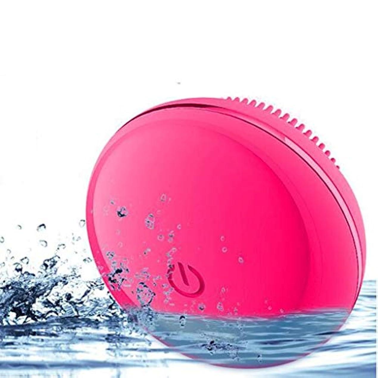 口フォージ反響するソニックバイブレーションフェイシャルクレンジングブラシ、電動ポータブルディープクレンジングブラシポアクリーナーは、しわ美容ツールを減らして肌を若返らせます (Color : Red)