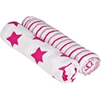 Lassig Swaddle and Burp Blanket (Stars and Stripes Pink) [並行輸入品]