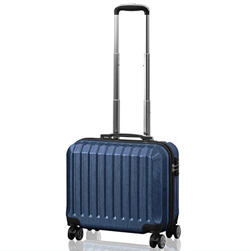 FIELDOOR TSAロック搭載 スーツケース [STRAIGHT NEO] ダブルキャスター 鏡面ヘアライン仕上げ トラベルキャリーケース リブ構造 ポリカーボ樹脂 軽量 耐衝撃 長期旅行 (ブルー/SSサイズ(機内持込OK/1~2泊用)35L)