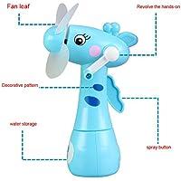 OVERMALおもちゃミニ水スプレーファン手動回転冷却ミスト漫画動物子供おもちゃ