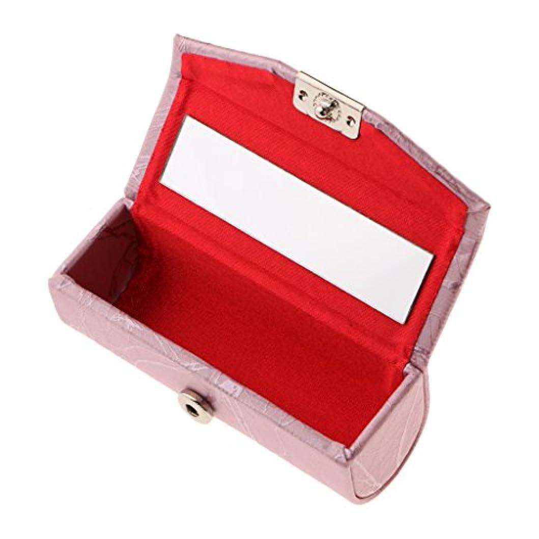 情報楽しいアダルトリップスティックリップクリームグロスケースオーガナイザーバッグ財布 - 口紅ホルダー - ミラー付き耐久性のあるソフトレザー - ピンク