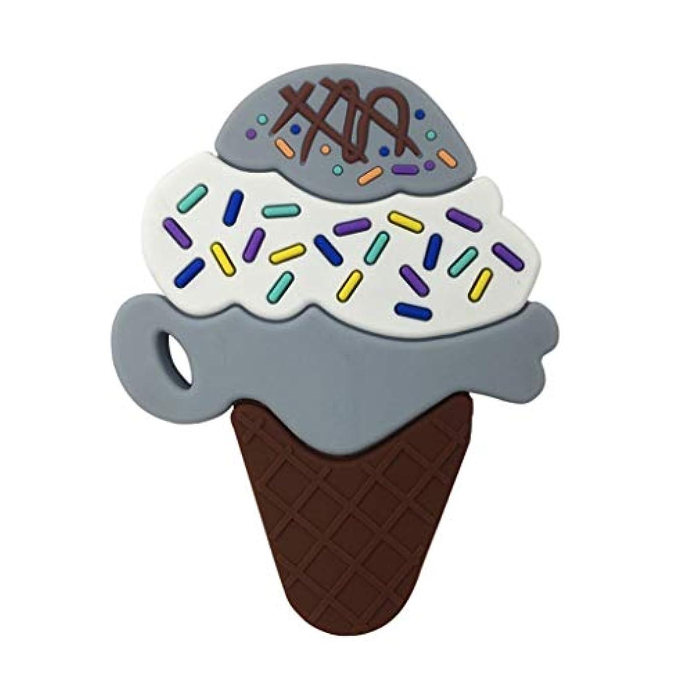 インタビュー崩壊受けるLanddumシリコーンおしゃぶり3層アイスクリームおしゃぶり赤ちゃんの授乳玩具チューイング玩具ガラガラ玩具 - グレー