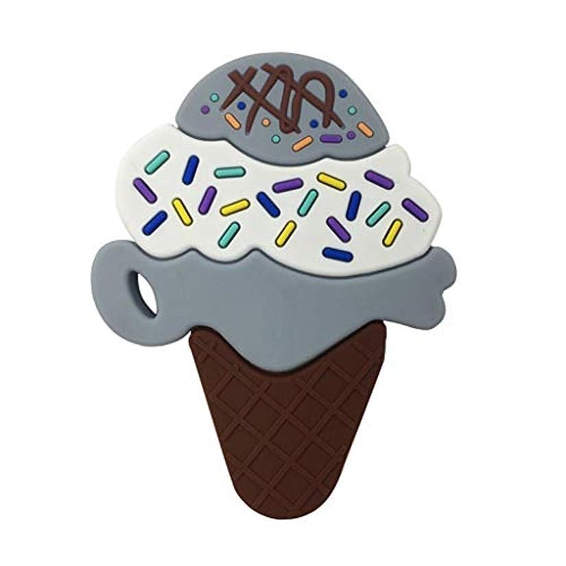 消化一貫性のないオーナメントLanddumシリコーンおしゃぶり3層アイスクリームおしゃぶり赤ちゃんの授乳玩具チューイング玩具ガラガラ玩具 - グレー