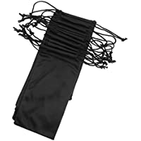 D DOLITY Black Soft Microfiber Drawstring Cleaning and Storage Pouch Bag for Sunglasses Glasses & Cell Phone, MP3 Player, Keys Gadgets-10 Pack