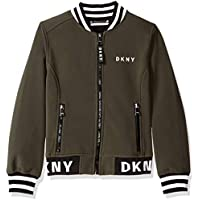 DKNY Girls' Big Fashion Softshell Bomber Jacket with Logo Trim