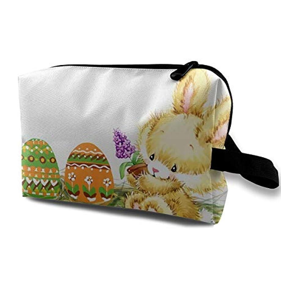困惑苦い急いでBunny Color Egg And Flowers 収納ポーチ 化粧ポーチ 大容量 軽量 耐久性 ハンドル付持ち運び便利。入れ 自宅・出張・旅行・アウトドア撮影などに対応。メンズ レディース トラベルグッズ