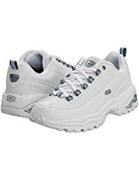 [SKECHERS(スケッチャーズ)] レディーススニーカー?ウォーキングシューズ?靴 Premiums White Smooth Leather/Blue Trim 9 (26cm) EE - Extra Wide