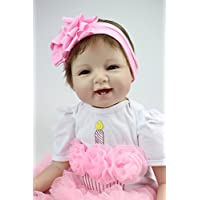 Evian Princess 22inch 55cm Lifelike Reborn Baby Doll Silicon Toy Pink Dress Kids Birthday Gift