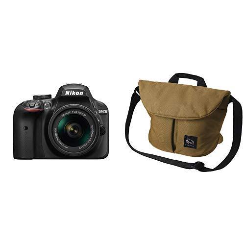 Nikon デジタル一眼レフカメラ D3400 AF-P 18-55 VR レンズキット ブラック D3400LKBK + HAKUBA カメラバッグ Chululu(チュルル) ホリデイ ショルダーバッグ M 6L ベージュ SCH-HDSBMBE
