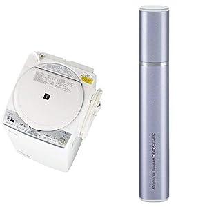 シャープ SHARP  タテ型洗濯乾燥機 ダイヤカット穴なし槽 ホワイト系 ES-TX8C-W 超音波ウォッシャー バイオレット系 セット