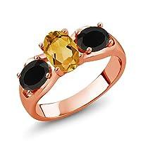Gem Stone King 1.38カラット 天然 シトリン 天然 オニキス シルバー925 ピンクゴールドコーティング 指輪 リング