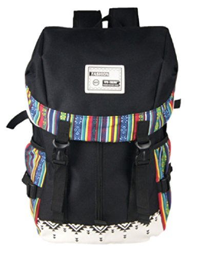 KLU リュック リュックサック 大容量 エスニック デザイン バックパック バッグ 帆布 キャンバス 生地 旅行 (ブラック)