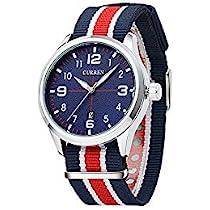 カジュアル メンズ ファッション ビジネス腕時計 ローマ数字 クオーツムーブメント マルチカラーナイロンバンド