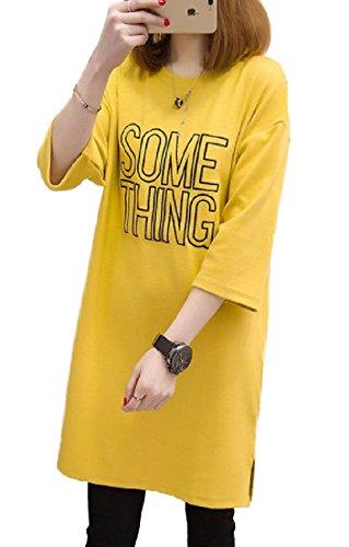 [해외]Smile LaLa 여성 튜닉 T 셔츠 프린트 로고 U 넥 칠부 소매 체형 커버 롱 캐주얼 소년/Smile LaLa Ladies Tunic T-shirt Print logo U neck three-quarter sleeve cover covered Long casual boyish