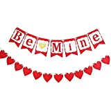 MZYARD Be Mine バナー+レッド 愛 ハート型 バンティング ガーランド オーナメント バレンタイン ウェディング 婚約 ホーム ウォールデコレーション