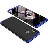 Vivo X21ケース 360°フルカバー 3パーツ式 ぴったりフィット ストラップホール付 耐衝撃 軽量 カメラ擦り防止 ツートン配色 ハイブリッド全面保護カバー (強化硝子フイルム含めません) (黒+青)