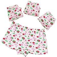 BOZEVON 4 Pack Little Girls Cotton Boxer Briefs - Soft Hipster Knickers Kids Boyshorts Cute Underwear Size 2-10 Years