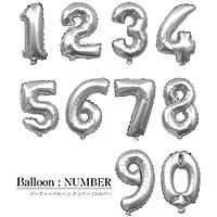 数字2の風船【シルバー2】 約40cm ナンバーバルーン お誕生日