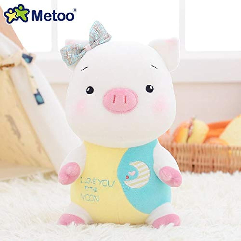 JEWH ぬいぐるみ キュート ぬいぐるみ Brinquedos - 女の子の赤ちゃんのおもちゃ - 誕生日 ボネカス Appease Pig MeToo Doll (9インチ) (イエロー&ブルー)