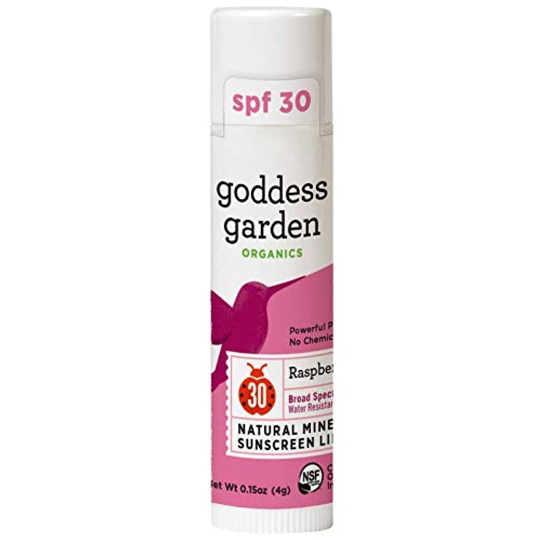 瞑想ピン時間Goddess Garden, オーガニック, 天然ミネラル日焼け止めリップバーム, SPF 30, ラズベリー, 0.15 oz (4 g)
