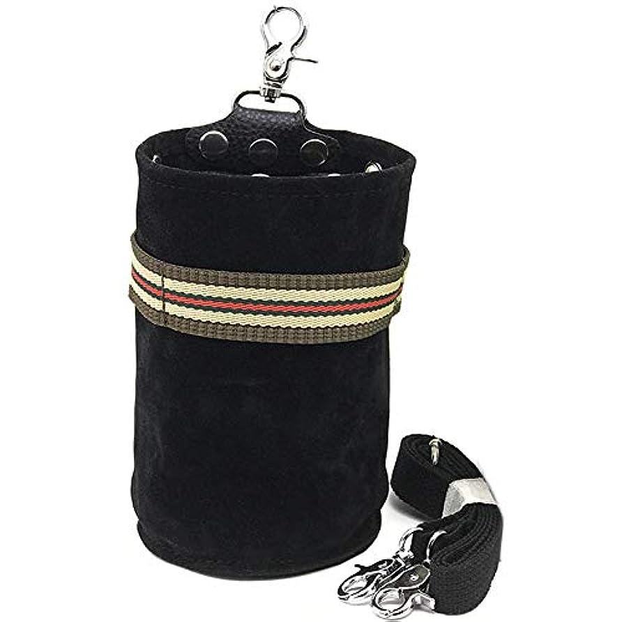 ブルームセッティング眠りCAMOAR シザーケース ハサミ収納 美容師 トリマー 円筒形 プロ仕様 レザー ブラック