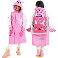 JASY Girls Boys Raincoat Suit for Age 5-13 Years Children Waterproof Hooded Cartoon Raincoat for Outdoor Camping Cycling