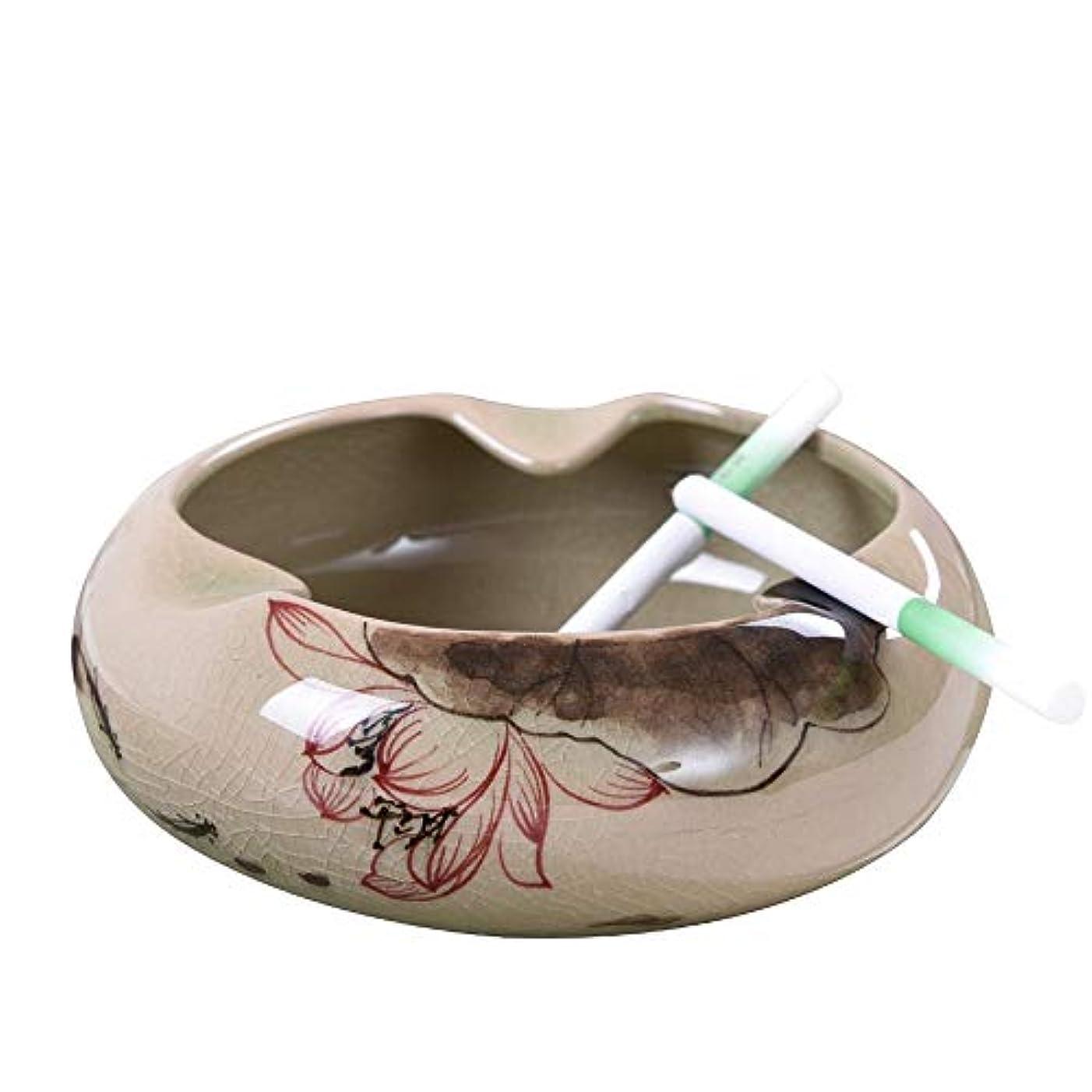 心配信じられないブレンドセラミック灰皿中国のレトロな手描きの創造的な人格の傾向中国風のリビングルームのコーヒーテーブルホームふた付き灰皿