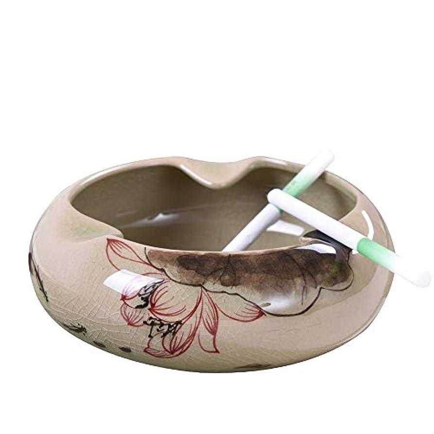 タイマー想定暴露セラミック灰皿中国のレトロな手描きの創造的な人格の傾向中国風のリビングルームのコーヒーテーブルホームふた付き灰皿
