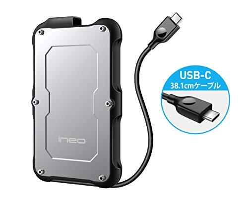 """ineo 2.5"""" USB 3.1 Gen2 Type C頑丈な防水&耐衝撃性外付ハードドライブケ―ス アルミ [C2580c]"""