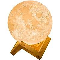 月のランプ 誕生日 プレゼント ナイトライト インテリア照明 間接照明 USB充電式 無段階調光 温白色・オレンジ色切替 タッチスイッチ オシャレ ベッドサイドランプ (直経15cm)