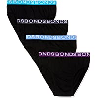 Bonds Men's Underwear Cotton Hipster Brief (4 Pack), Blues, M