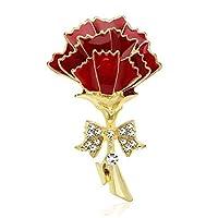 Chili Jewelry レッドカーネーションブローチ ママ用 レディース フラワーブローチピン ラペルピン コサージュ スカーフ クリップ