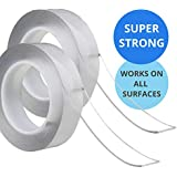 Nano Magic Tape 2 Pack Multifuctional Double-Sided Clear Adhesive Invisible Gel Anti-Slip Removable & Reusable All Purpose Sticky Strips 1, 3, 5 metres for Home Kitchen Wall (1 METRE)