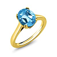Gem Stone King 4.03カラット 天然 スイスブルートパーズ 天然 ダイヤモンド シルバー925 イエローゴールドコーティング 指輪 リング