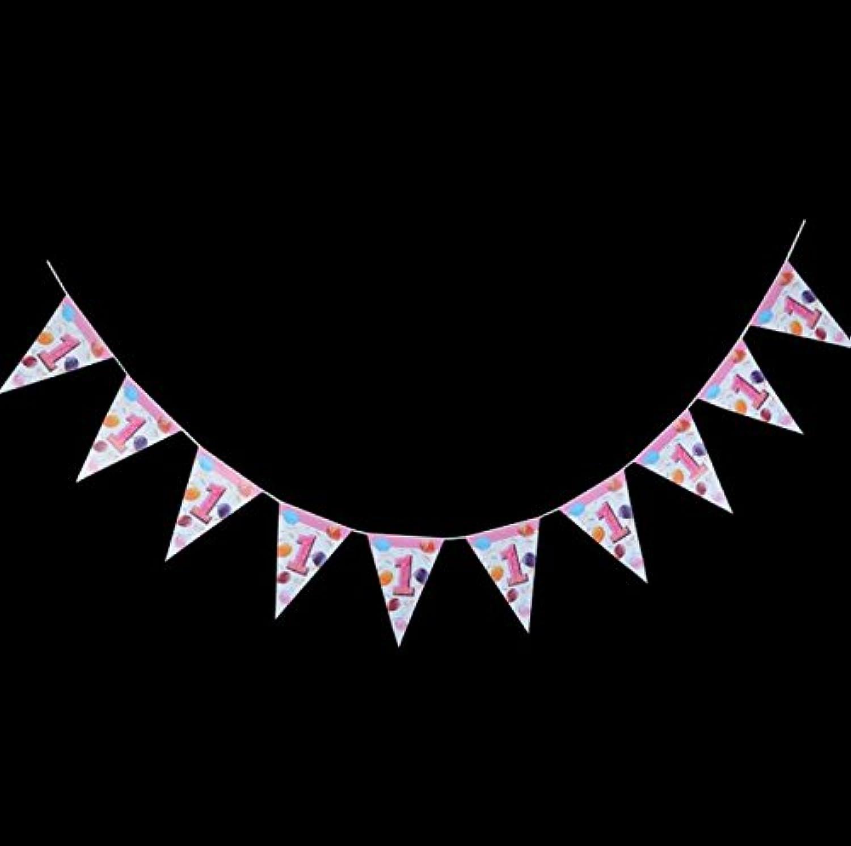 完璧な装飾 ハンギングデコレーション第1回誕生日装飾トライアングルFlags_Pink