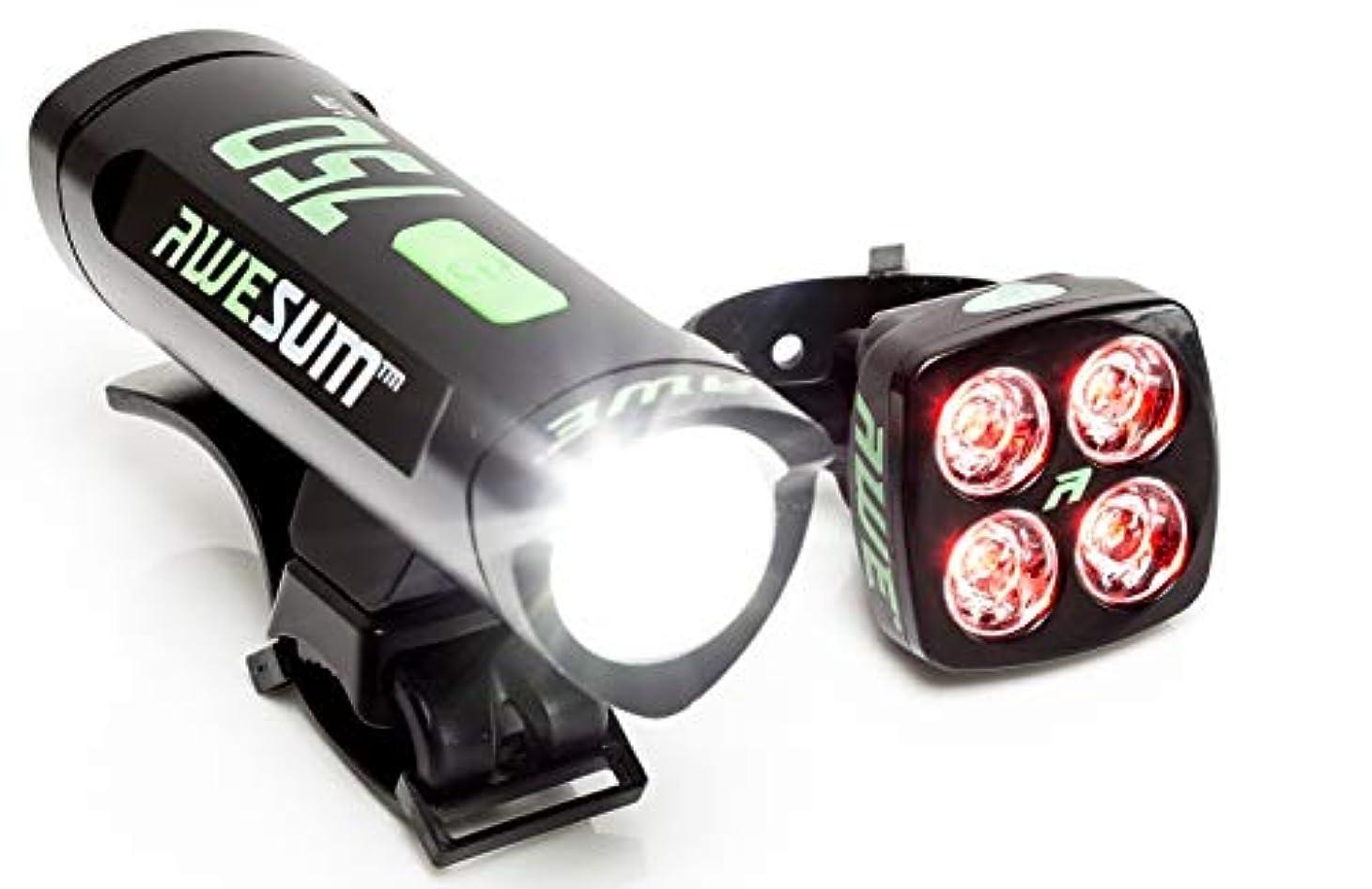 普及を通して寂しいAWE 750Blitz USB充電式 自転車用 前方& 後方 ライトセット 眼が眩むほど明るい! 790ルーメン 防水度 IPX4