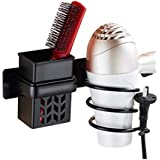IVHJLP Aluminum Hair Dryer Holder Wall Mount Spiral Spring Hair Dryer Hanging Rack with Hair Straightener Holder (Color : Black)