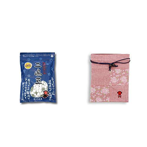 [2点セット] 飛騨 打保屋 駄菓子 三嶋豆(150g)・おねがいさるぼぼ 巾着【ピンク】